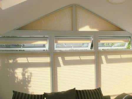Angled Pleated Blinds fit in a Sunroom in Finglas