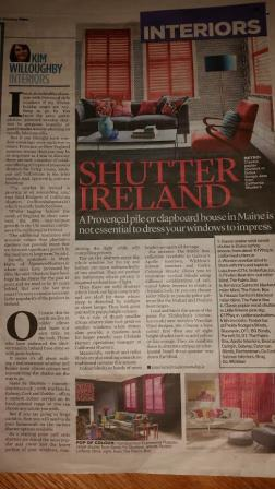 Signature Blinds is featured in Irish Mail on Sunday