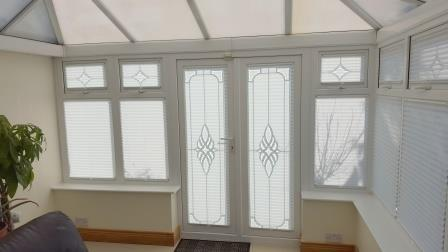 pleated blinds fitted in a conservatory