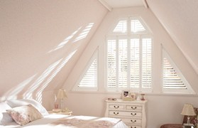 Window Blinds White triangular shutter