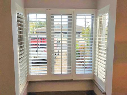 white bay window plantation shutters Bray