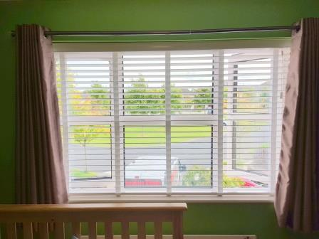 Gloss White Wood Venetian Blinds Fitted in Donabate