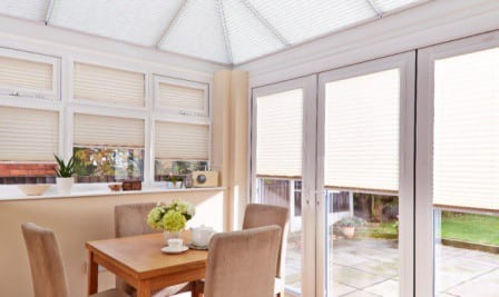 conservatory white blinds