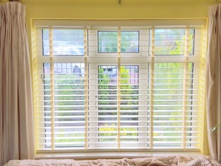 Wood Venetian Blinds with Coloured Tapes