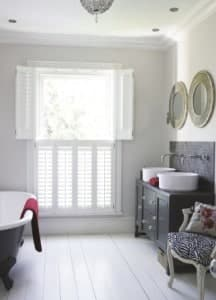 Shutter Materials phoenixwood Shutters open bathroom