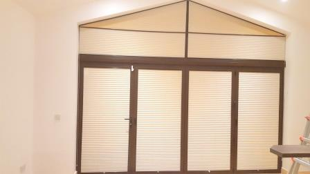 Angled Pleated Blinds fitted in Carlow