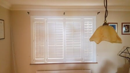 Shutters in Galway with tilt rods closed - Signature Blinds and Shutters