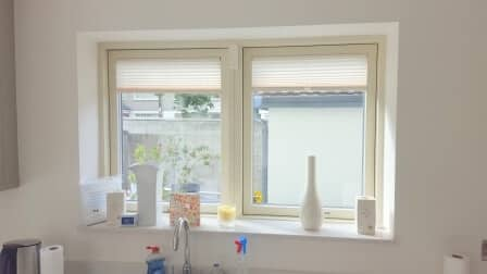 Pleated Blinds fitted onto tilt and turn windows in blanchardstown