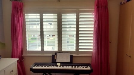89mm Louvred White Plantation Shutters fitted in Swords