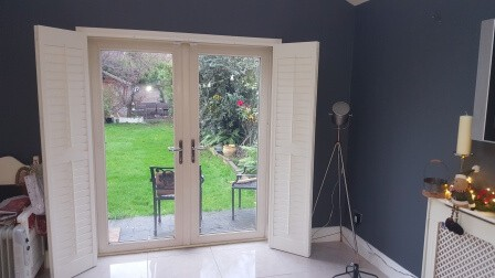 Beautiful Shutters fitted onto Frech Door in Knocklyon, Templeogue