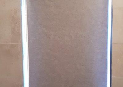 Bathroom roller blind closed