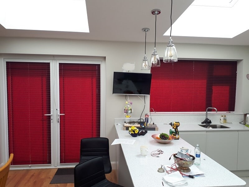 Red Pleated Blinds installed in Whitehall, Dublin 9