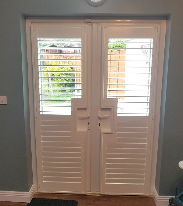 Plantation Shutters fitted onto patio doors in Glasnevin, Dublin 9