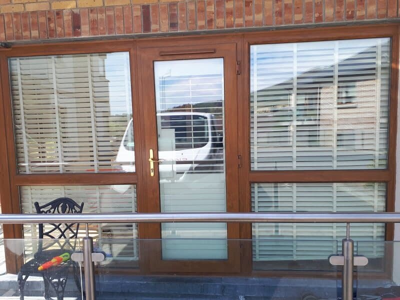 Plantation Shutters fitted in bedrooms and on balcony doors. Kilmacanogue, Wicklow