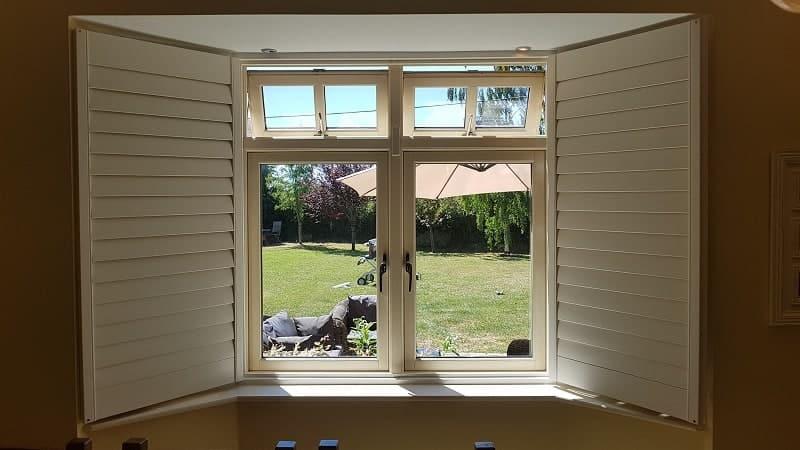 Plantation Shutters fitted on 2 bay windows in Straffan, Co Kildare.