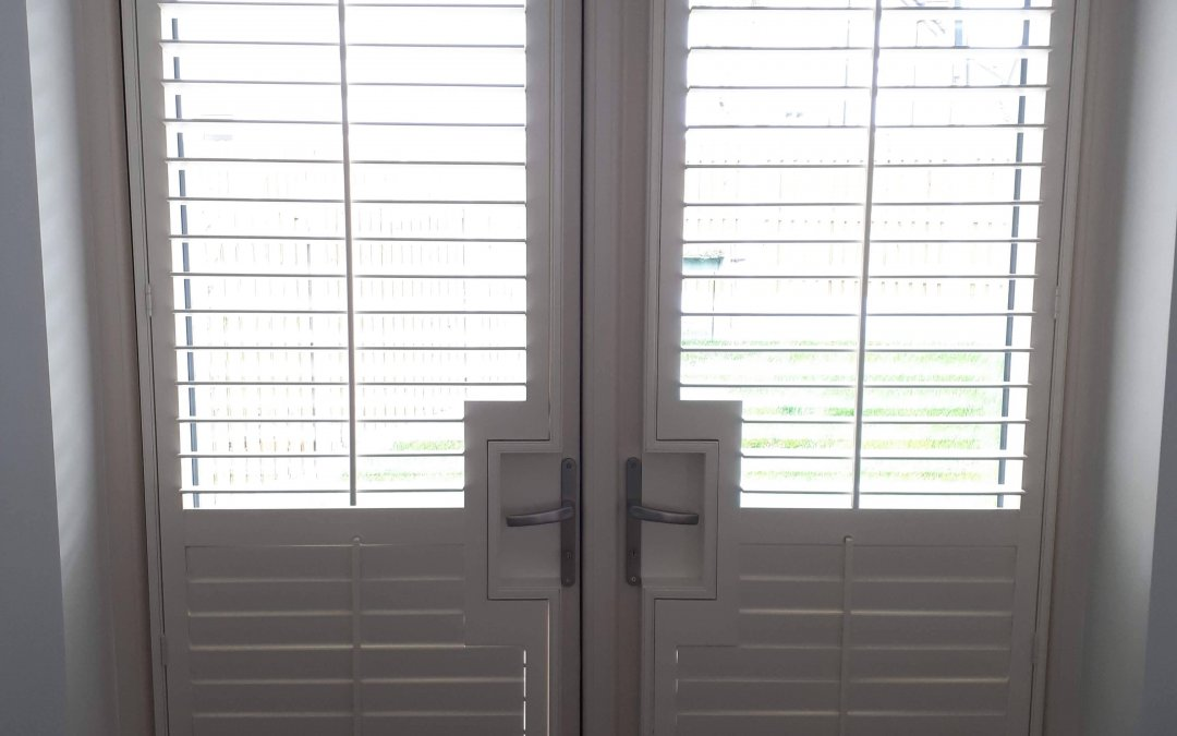 Plantation Shutters fitted on a patio door in Lucan, County Dublin