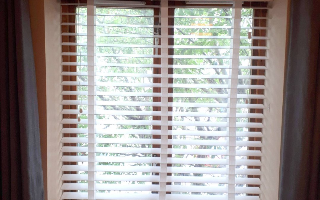 Wooden Venetian Blinds with tapes installed in Chapelizod.