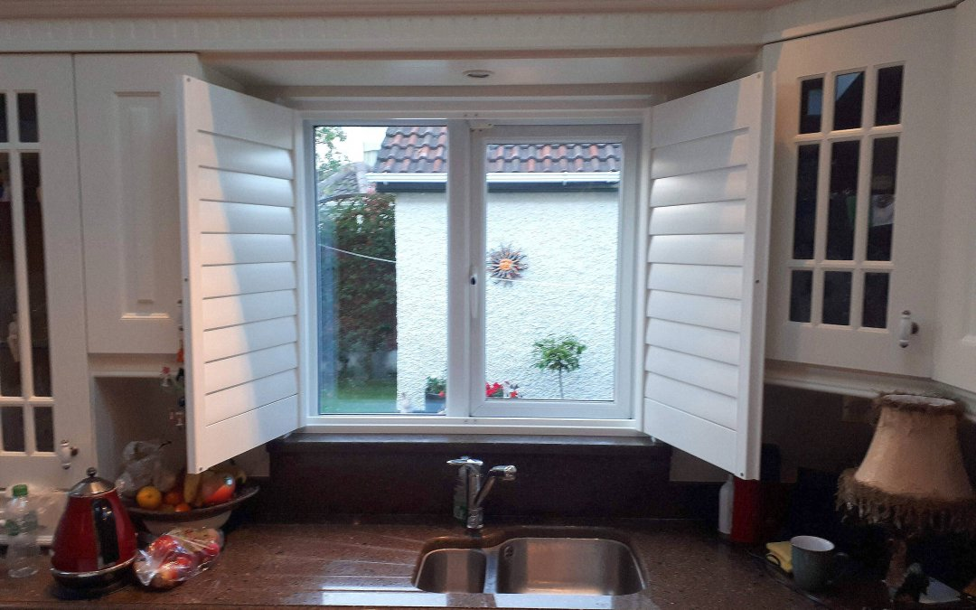 Plantation shutter installed on a kitchen window Luttrelstown, Dublin 15