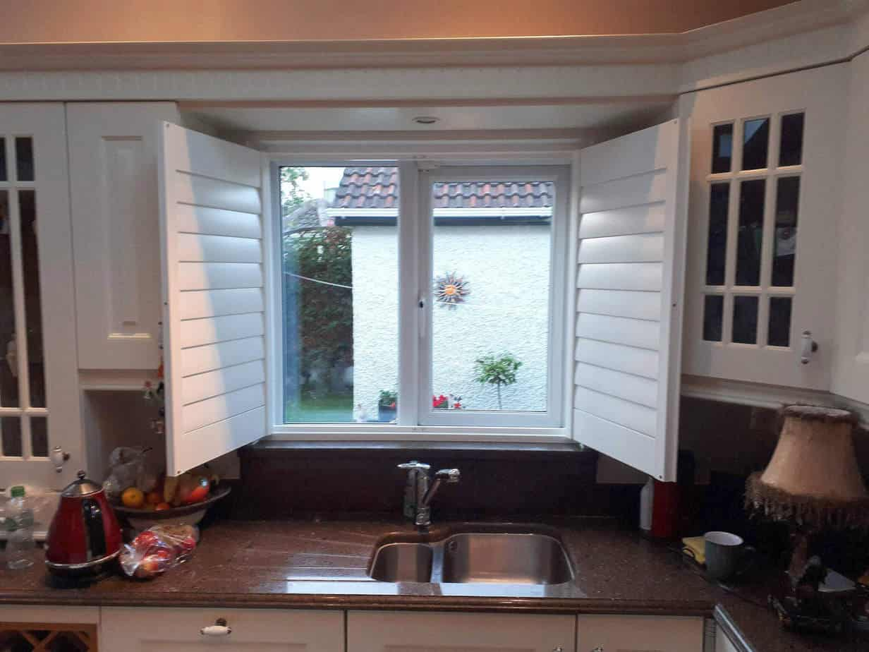 Plantation Shutter Installed On A Kitchen Window
