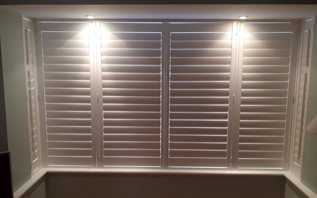 Shutters installed on a bay window in Donabate, County Dublin.