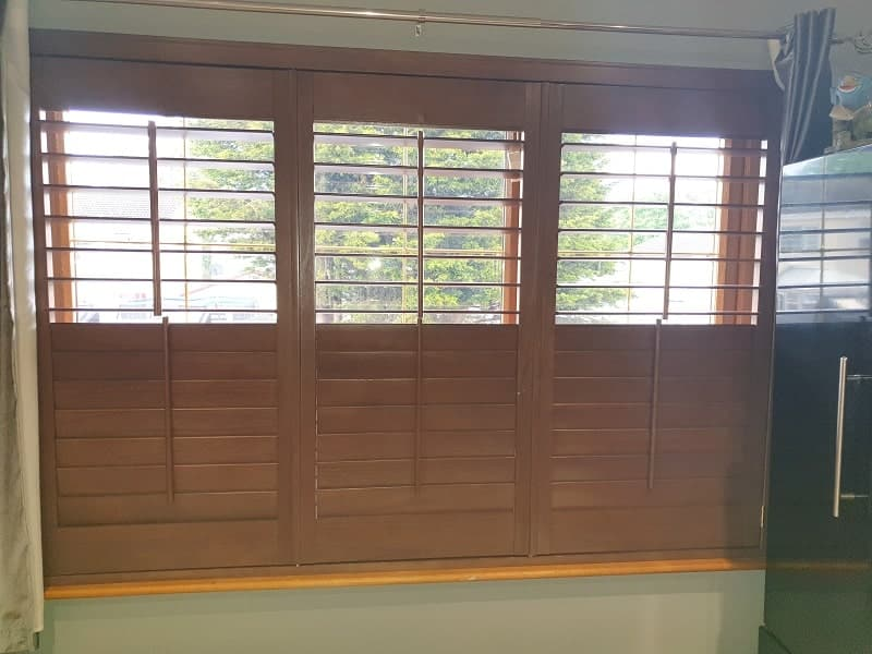 Wooden Stained Plantation Shutters installed in Clondalkin.