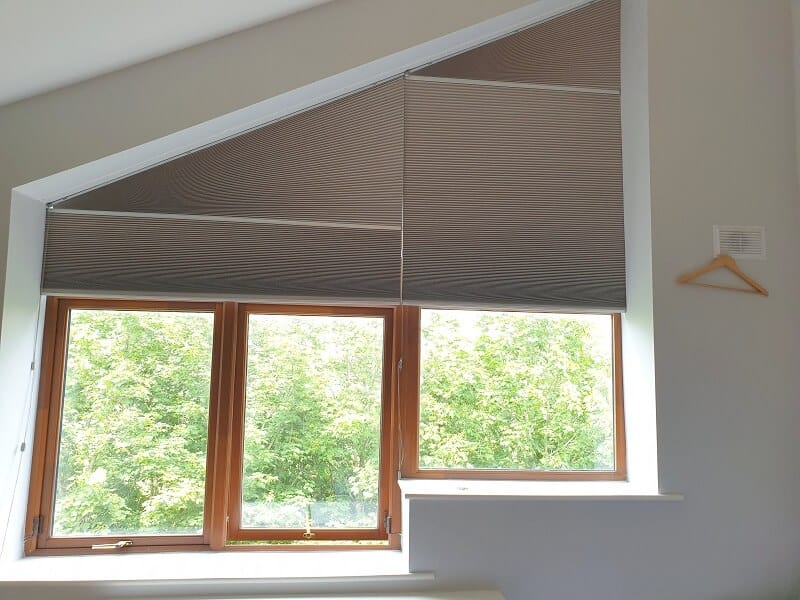 Duette Blinds installed on a shaped window in Naas, Kildare