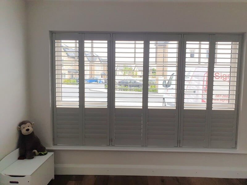 Grey Plantation Shutters installed in Malahide, Dublin