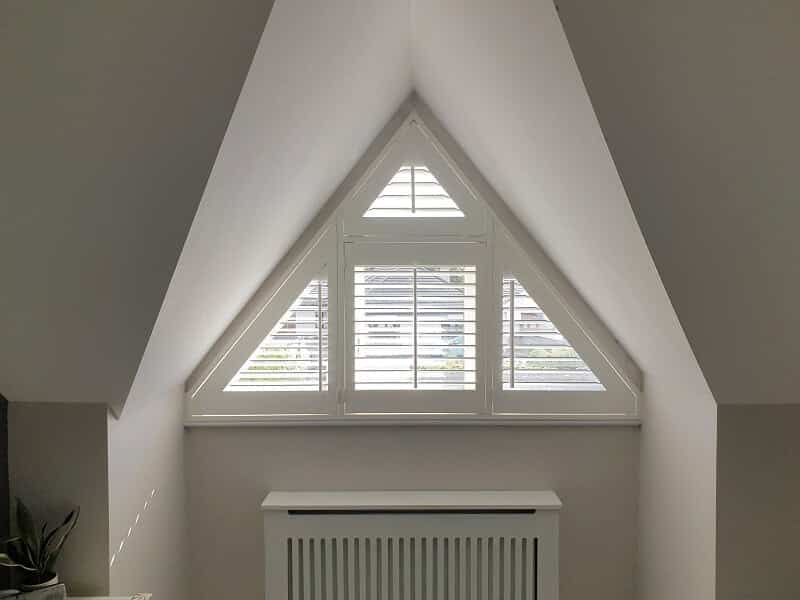 Triangular Shaped Plantation Shutters installed in Rush, Dublin