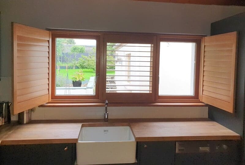 Wood Stained Shutters installed in Santry, Dublin 9