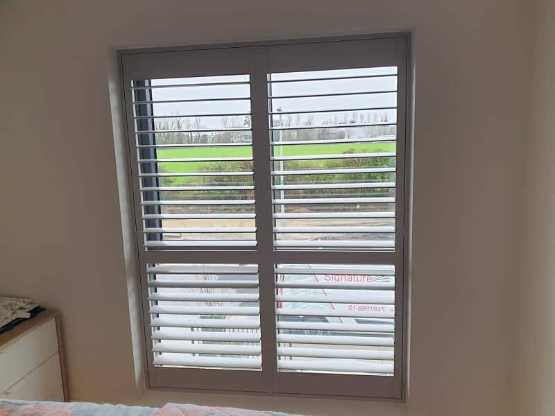 Grey Plantation Shutters fitted in The Willows, Dunshaughlin, Co Meath.