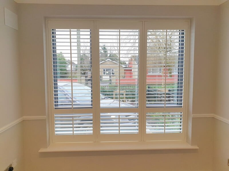 63mm Louver Plantation Shutters fitted in St Mary's Park, Leixlip.