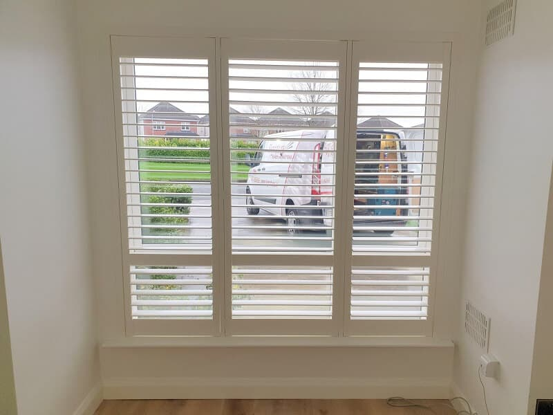Silk White plantation shutters installed in Ratoath, Meath.