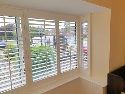 76mm louver Plantation Shutters installed in Maynooth, Kildare.