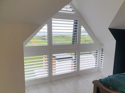 Shaped Shutters fitted on a Bay Window in Rush, Dublin