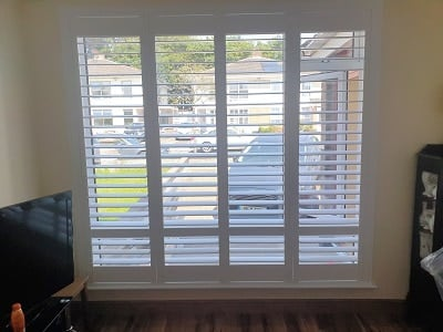 Pure White Plantation Shutters fitted in Drumcondra, Co Dublin