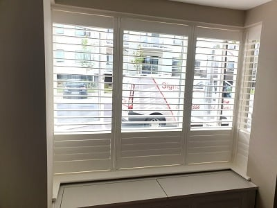 Large Bay Window fitted with Plantation Shutters.