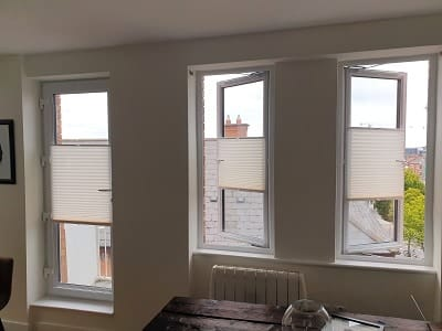 Multi-Functioning Pleated and Duette Blinds installed in Dublin 8.