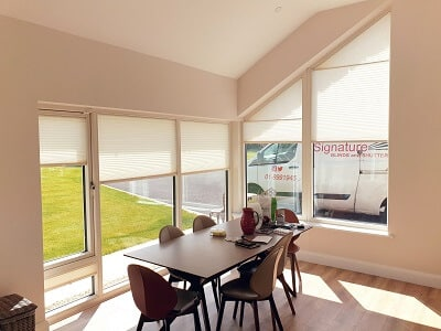 Shaped Pleated and Roller blinds fitted in County Meath